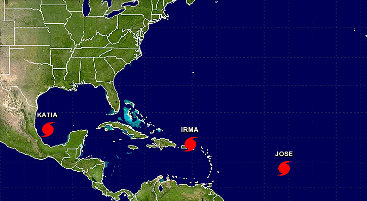 There are now 3 hurricanes in the Atlantic