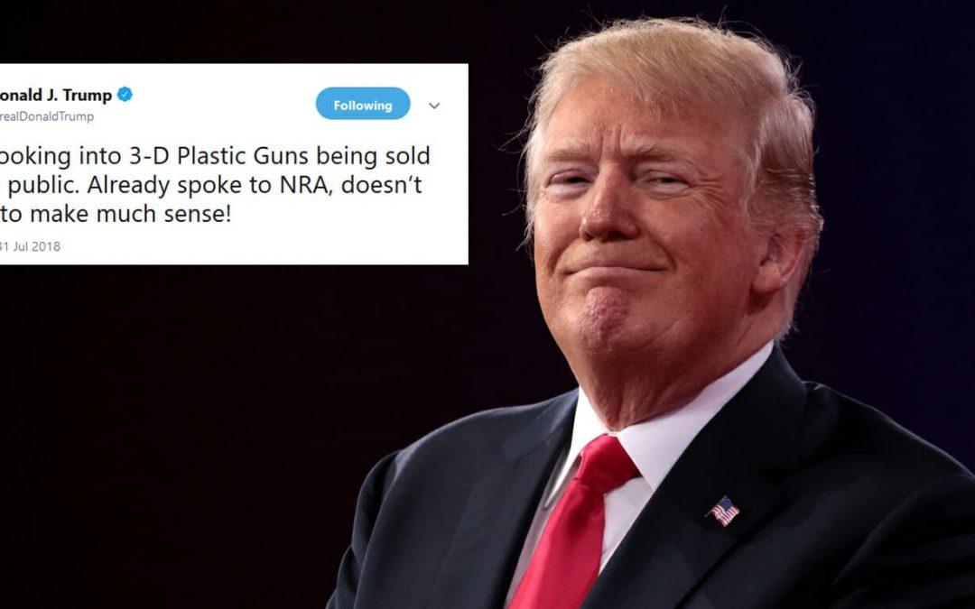 Trump seems to come out against 3D-printed guns in tweet